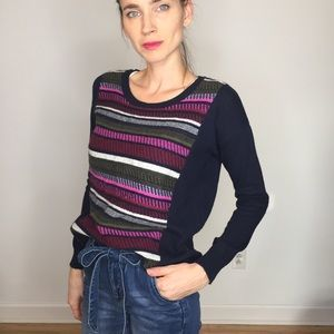 J. Crew Navy Pink Striped Small Wool Blend Sweater